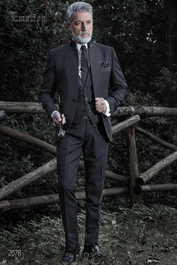 Costume noir col mao pour homme de mariage