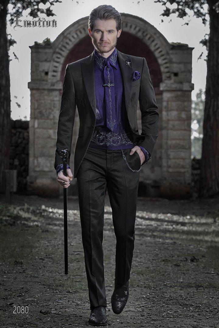 Costume italien homme vintage noir et chemise violet