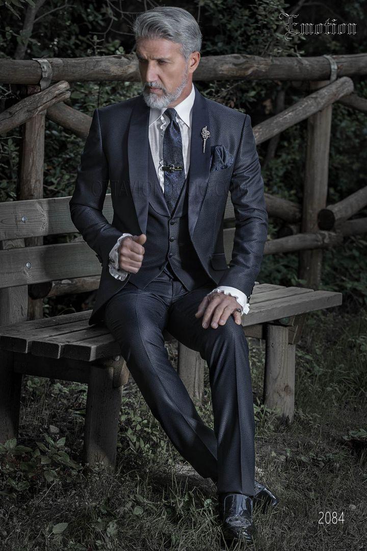 Costume bleu brillant pour homme de mariage vintage