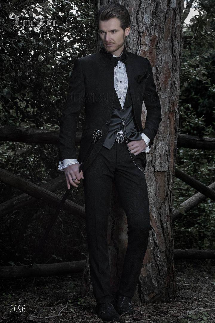 Costume vintage col mao jacquard noir