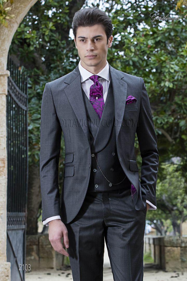 Italian bespoke  wedding suit in grey wool blend with peak lapel