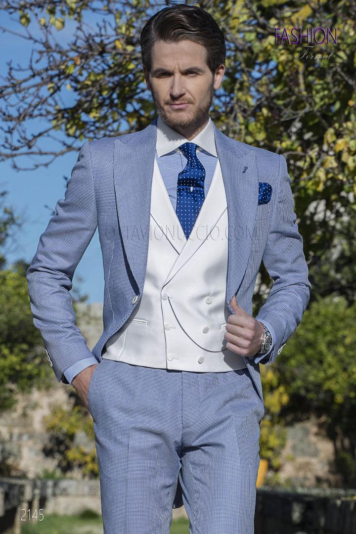 Morning suit in blue hound's tooth fabric with white vest