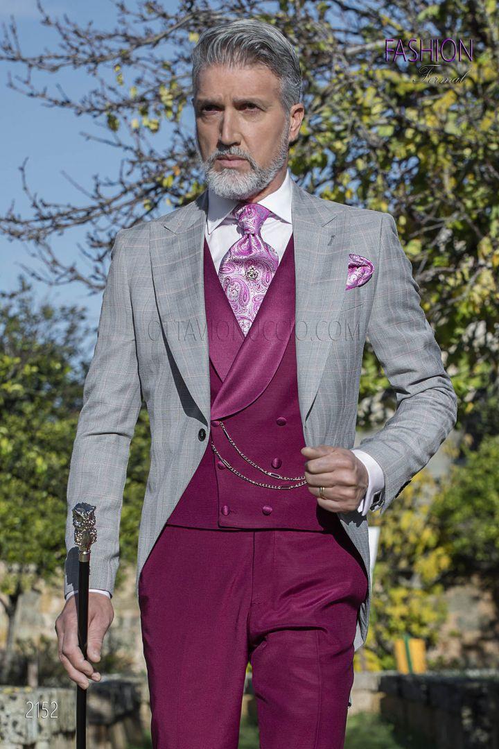Chaqué vintage príncipe de gales coordinado con pantalón y chaleco borgoña