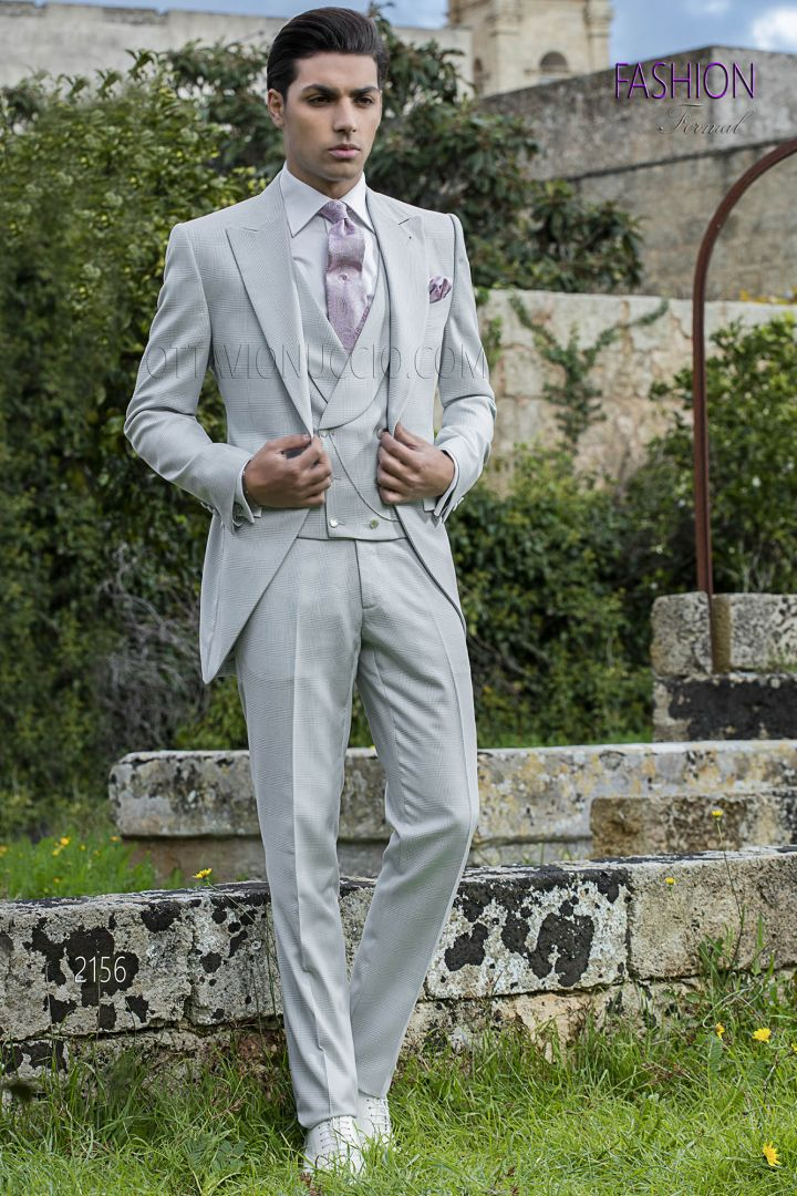 Morning suit in light grey Prince of Wales fabric