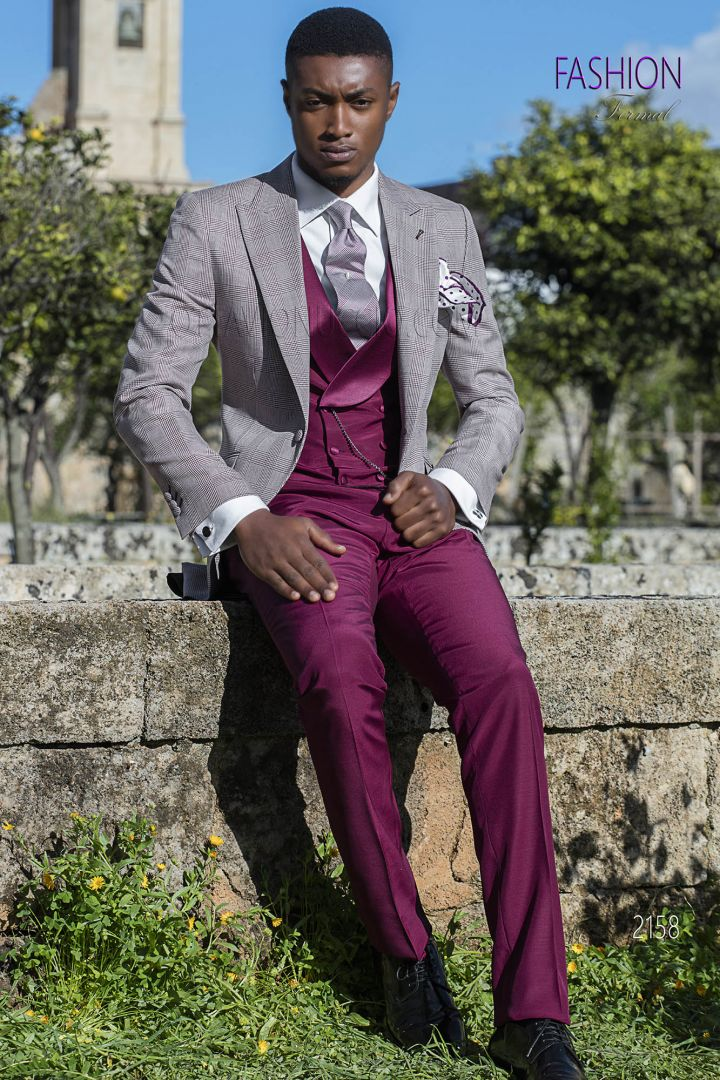 Burgundy frock coat Prince of Wales with tone coordination