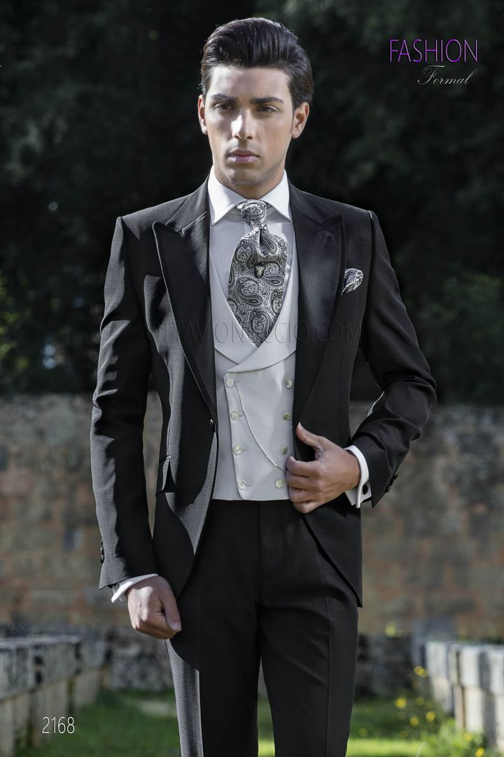 Italian high fashion wedding suit in black wool blend