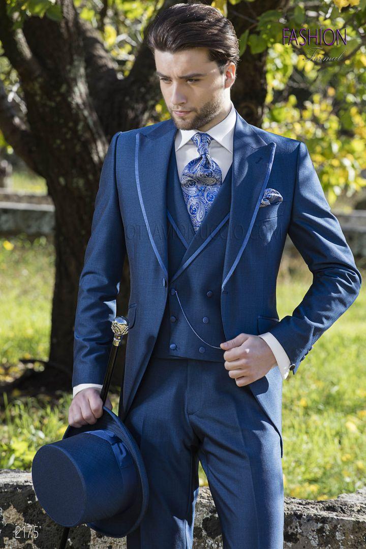 Blue fashion italian morning suit in wool blend