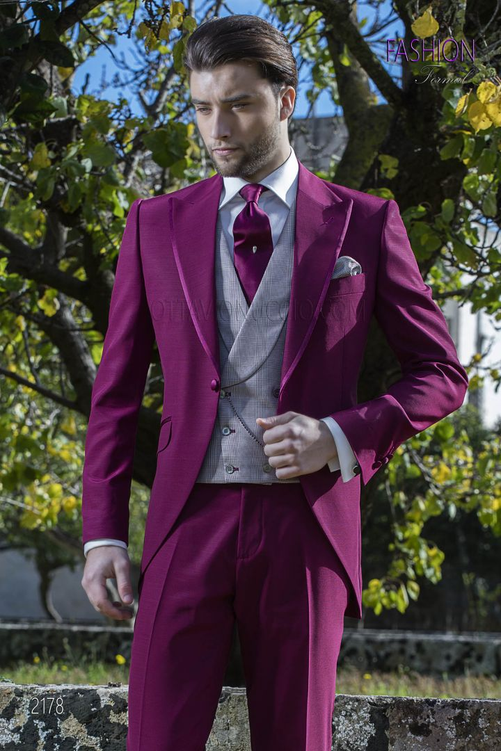 Burgundy italian morning dress suit with Prince of Wales vest