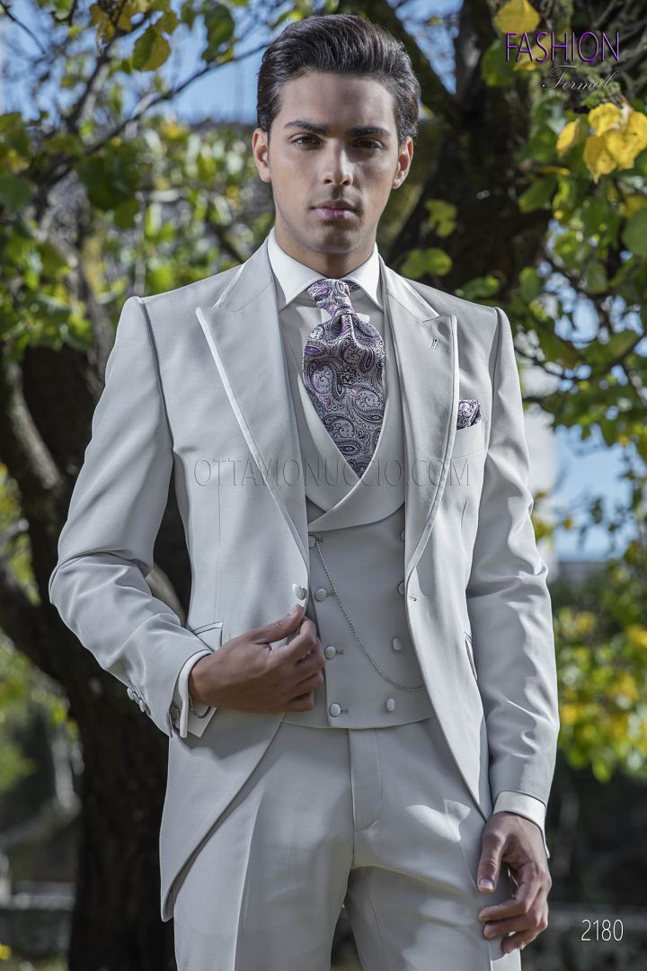 High fashion morning suit in light grey italian style