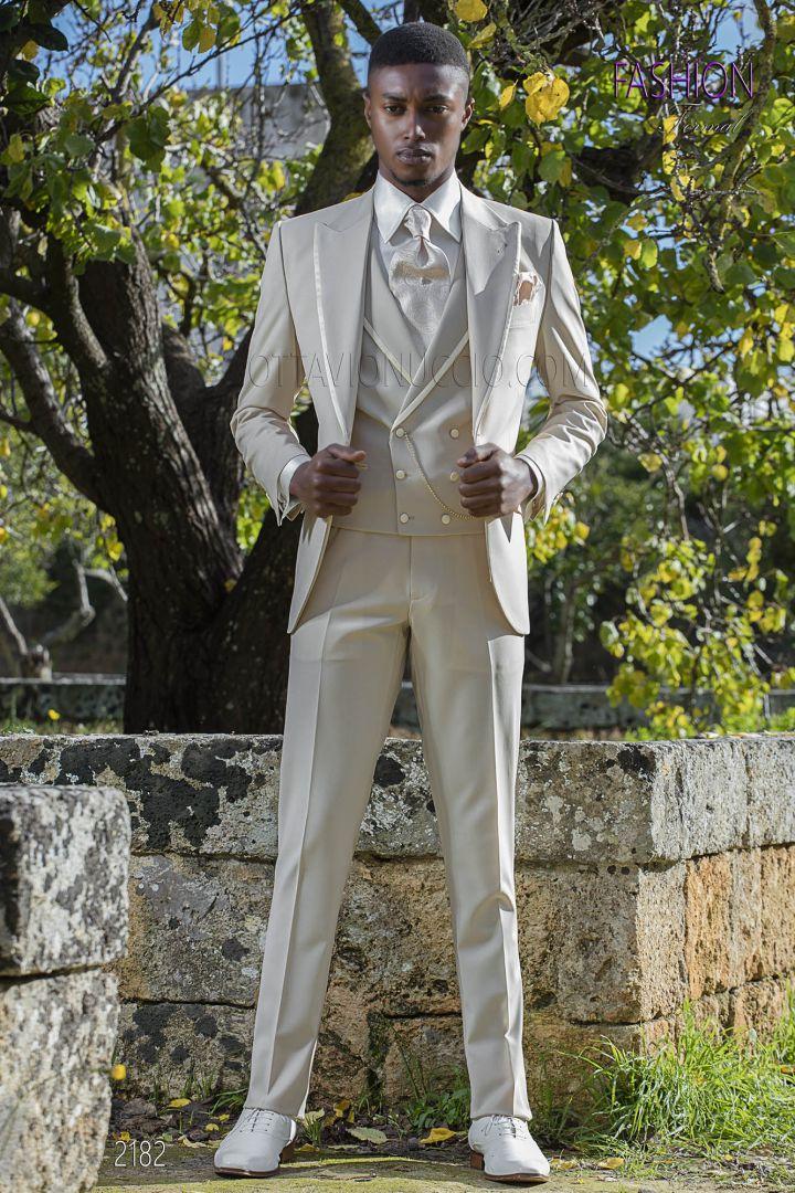 Italian men bespoke wedding suit beige cool wool