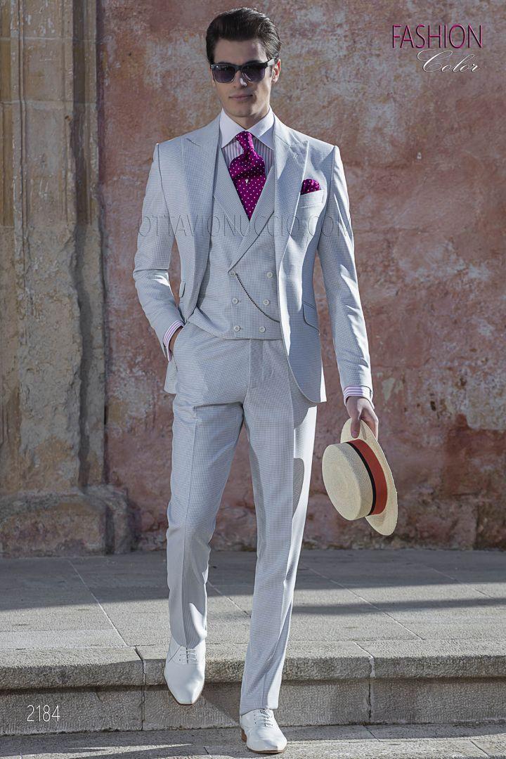 Summer italian groom suit for men in pearl grey fabric