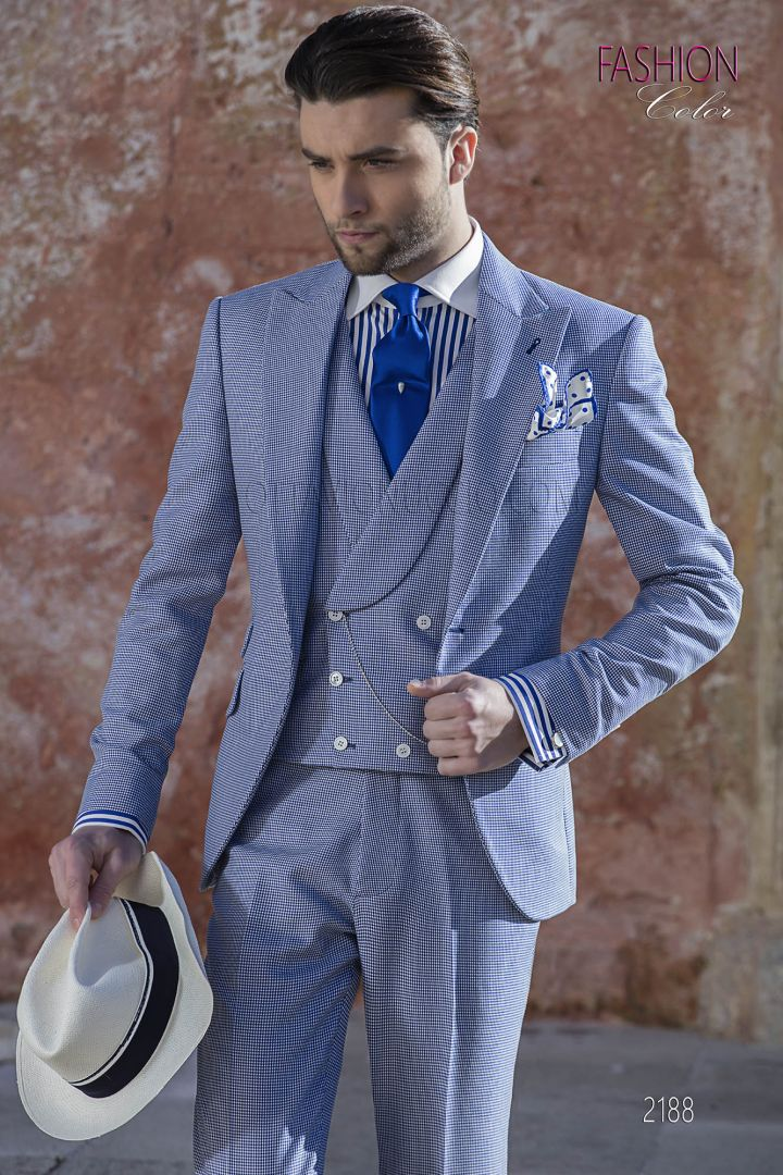 Italian wedding suit in blue hound's tooth cool fabric