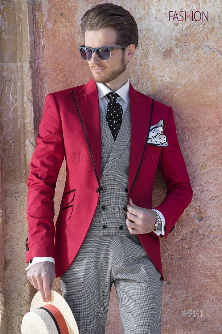 Italian red morning suit with hound's tooth coordination's
