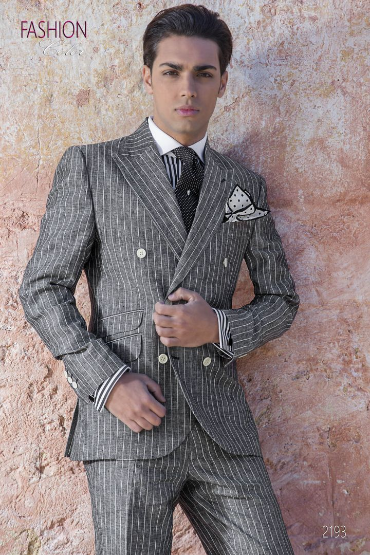 Italian summer double-breasted suit in gray striped linen