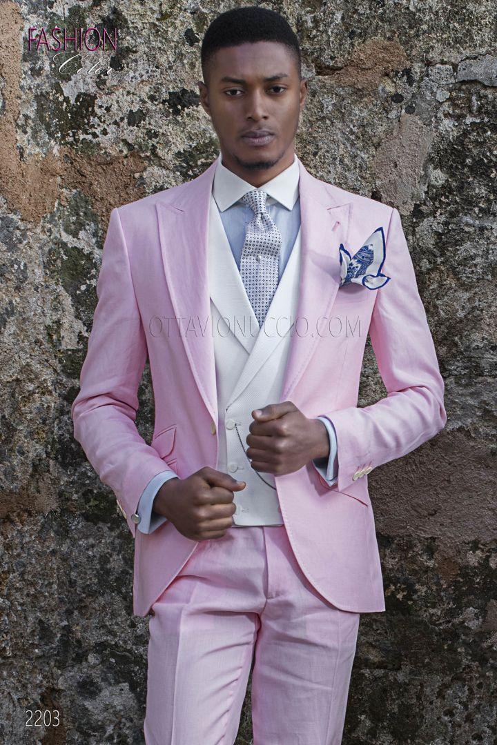 Italian morning suit in pink linen for summer wedding