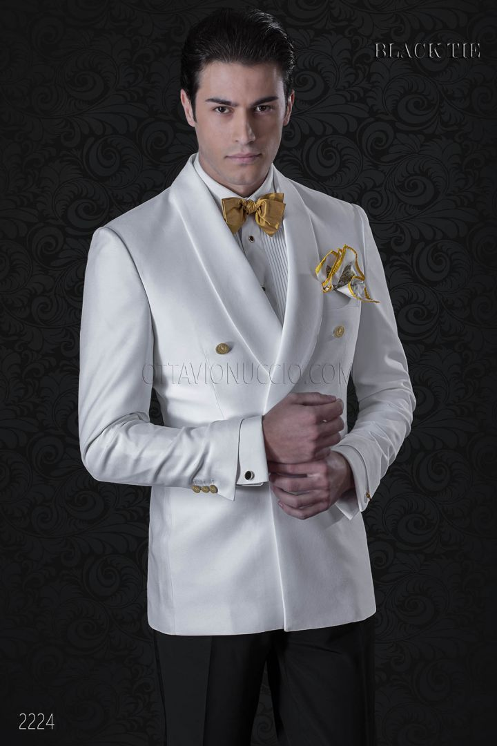 White double breasted italian tuxedo with shawl collar