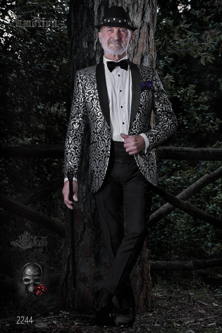 Costume excentrique vintage homme brocart noir argent