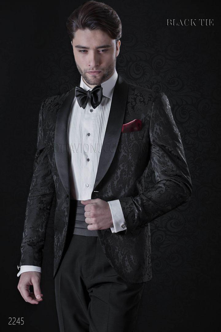 Tuxedo homme italien damassèe noir châle revers