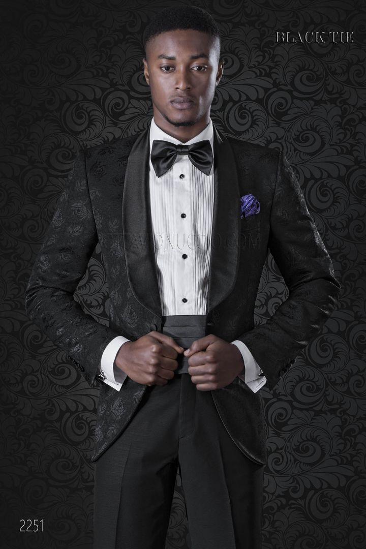 Smoking veste de marié noir damassée avec châle revers