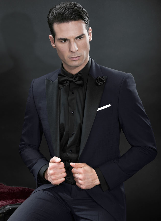 Tuxedo italian formal wear model bt03 687 ottavio for Black tuxedo shirt for men