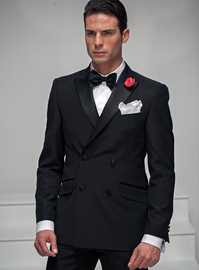 Double Breasted Suit In Black Acetate And Wool Blend With Black Bow