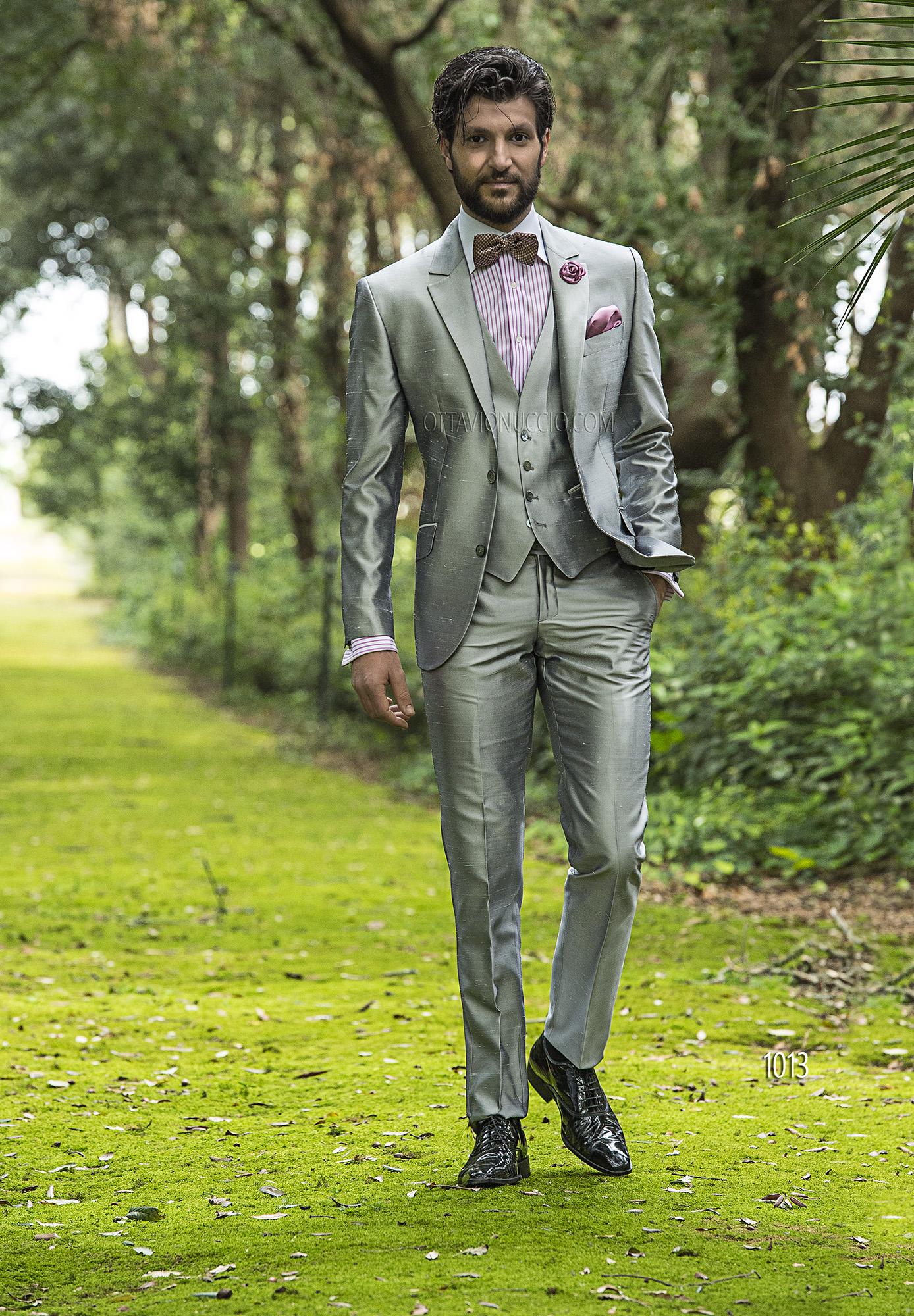 Abito Matrimonio Uomo Grigio : Abito da cerimonia uomo in shantung grigio perla