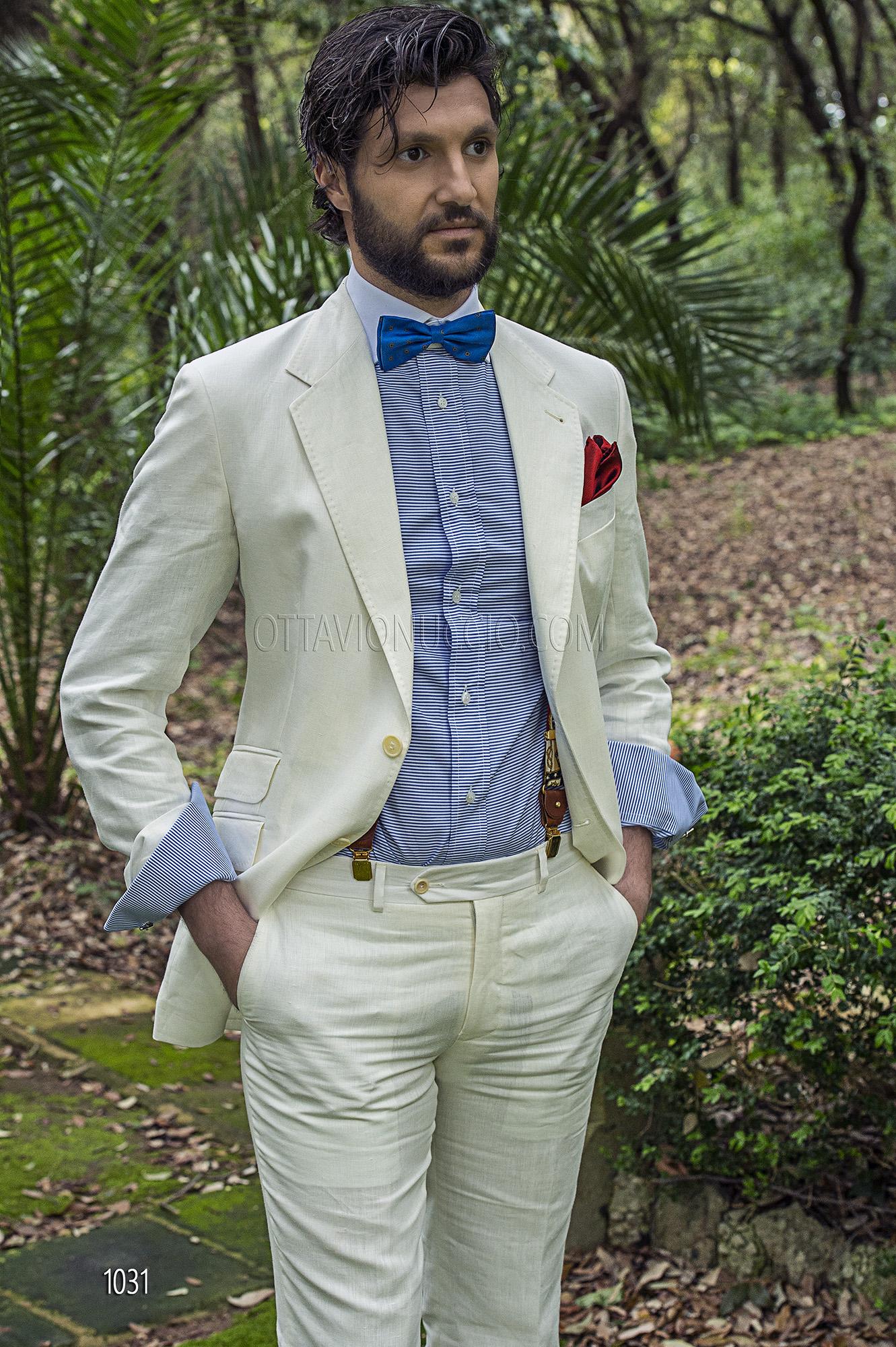 Abito Matrimonio Uomo Bianco : Abito sposo uomo in lino bianco