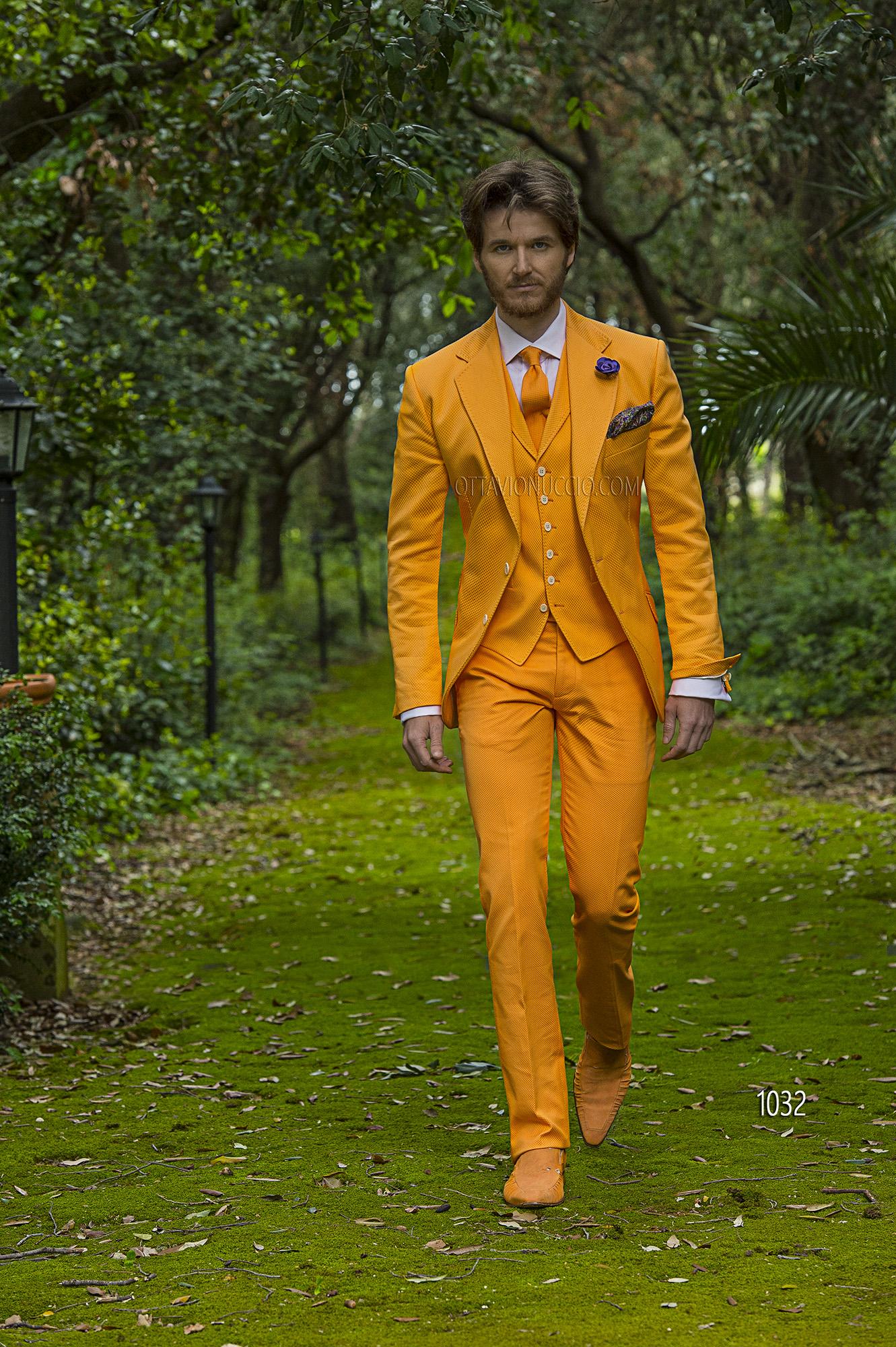 Conosciuto Abito da cerimonia uomo moderno in piquet arancione CC07
