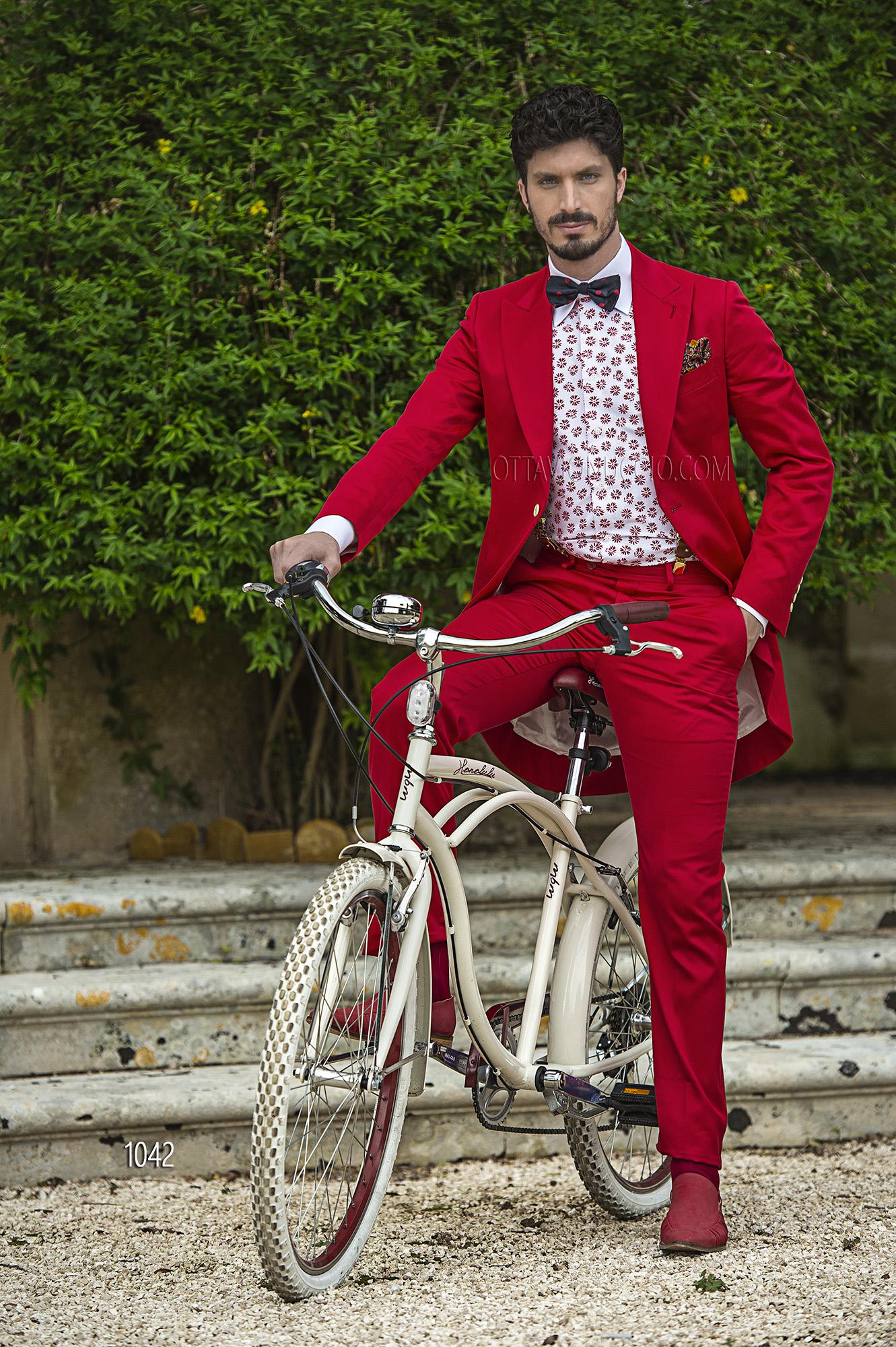 Fashion Matrimonio Uomo : Abito da cerimonia uomo demi tight in raso cotone rosso