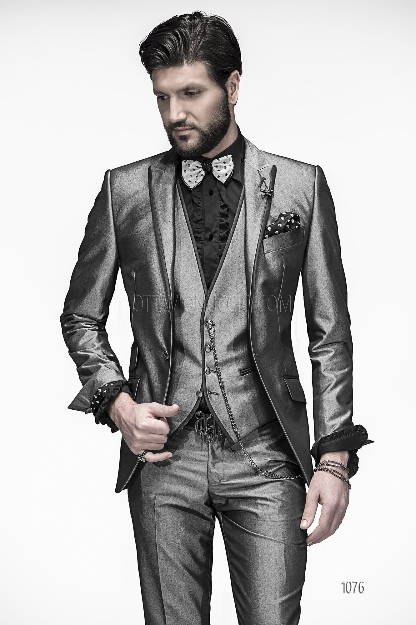 Metallic Grey Groom Suits