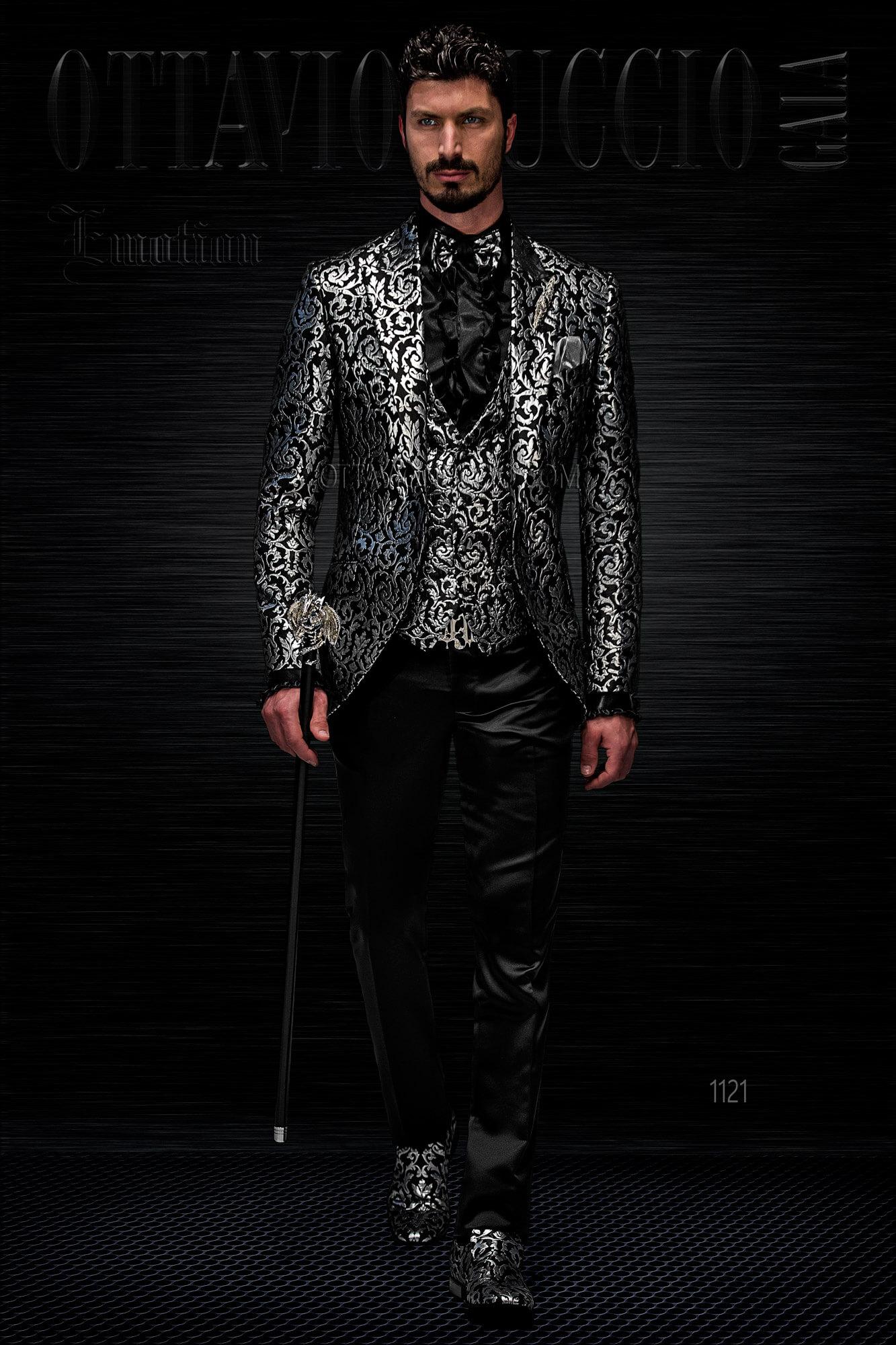 100% autentico cd839 92f83 Abito sposo con giacca damascata nero e argento