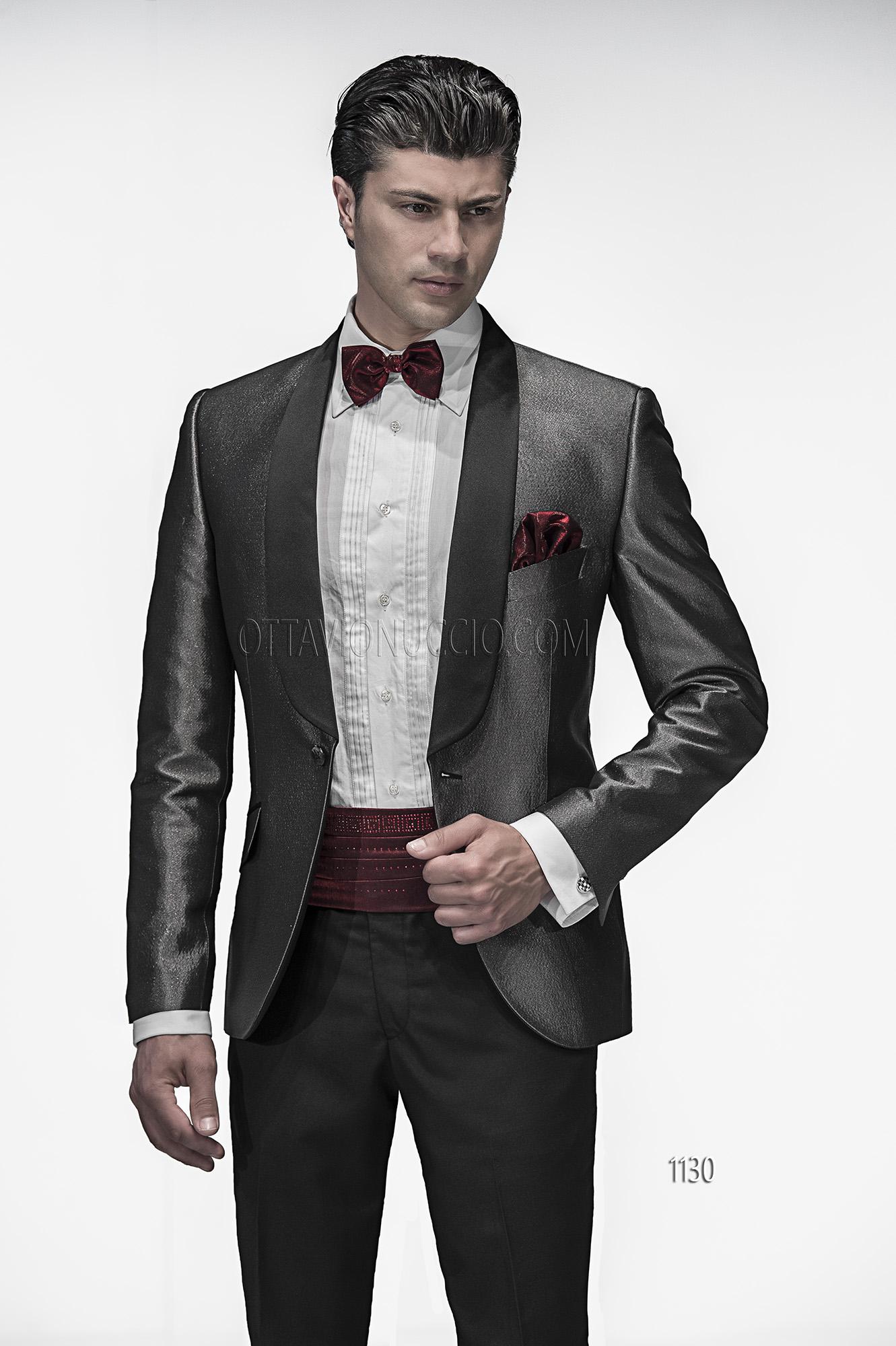 new products 7619d ef8e2 Abito da sposo uomo con giacca effetto jeans nero e argento
