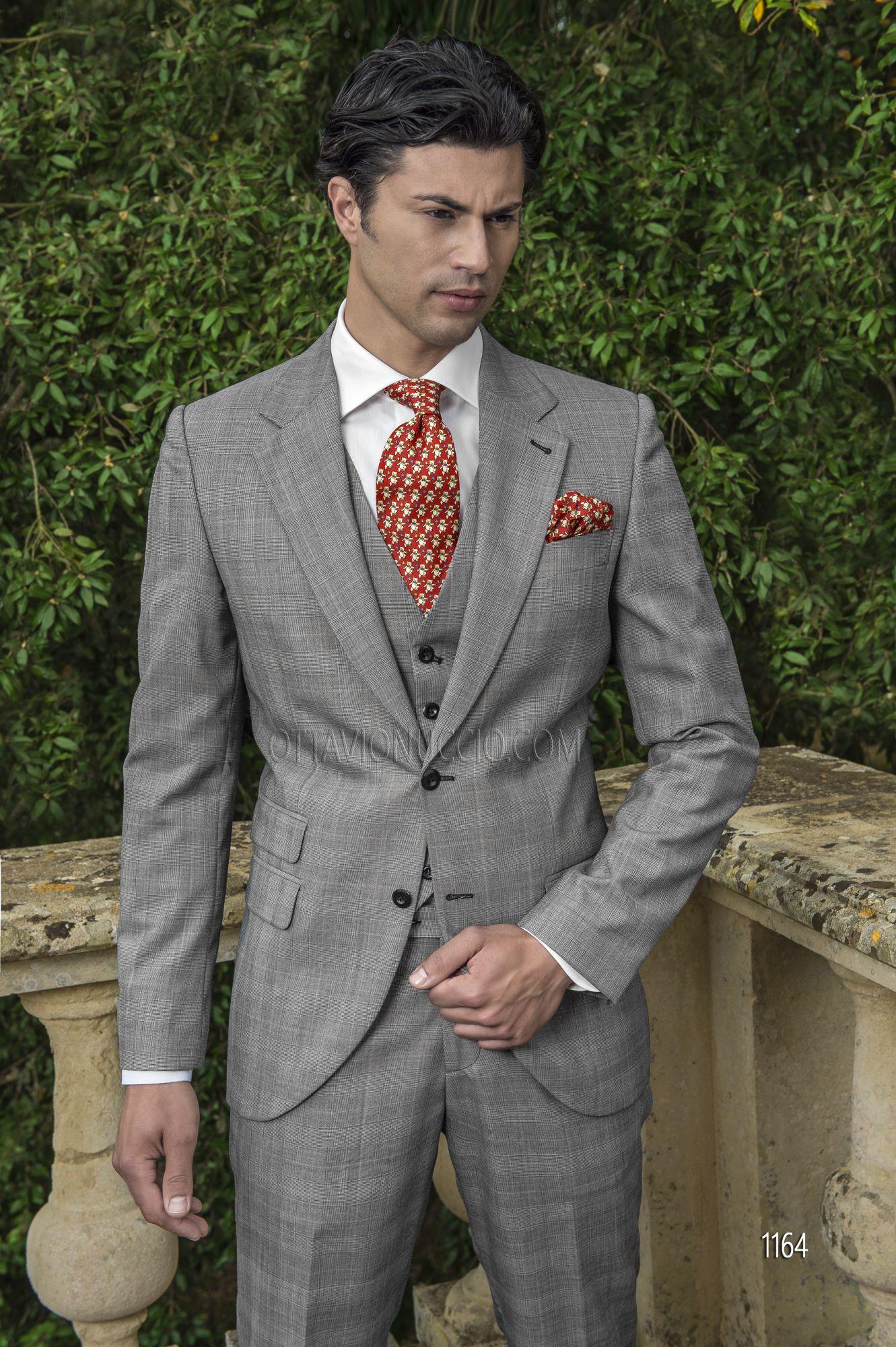 ONGala 1164 - Abito sposo uomo in misto lana Principe di Galles grigio 2b38931550b