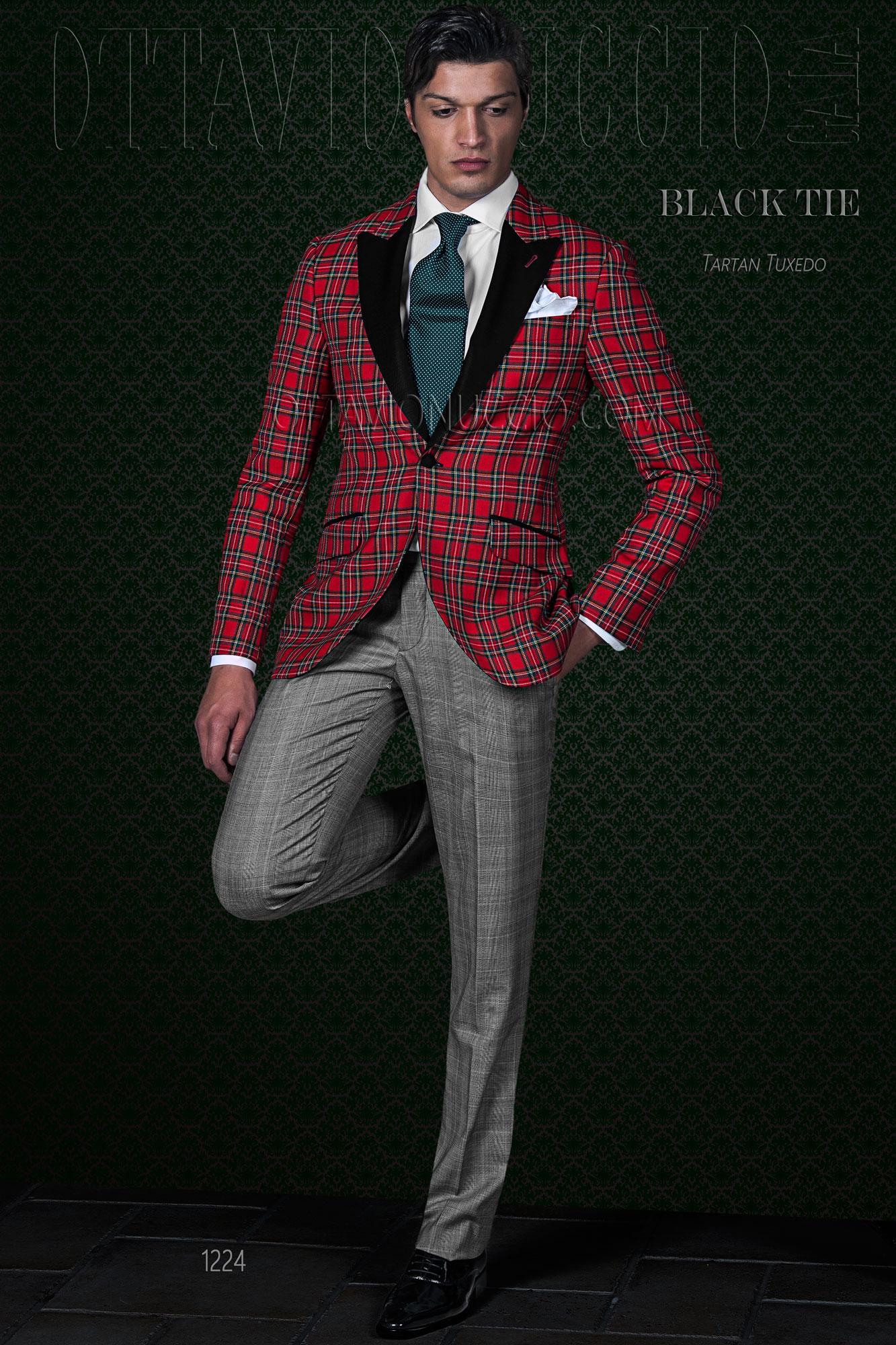 85ef76848f09 Abito da cerimonia uomo tartan rosso con pantalone in Principe di Galles