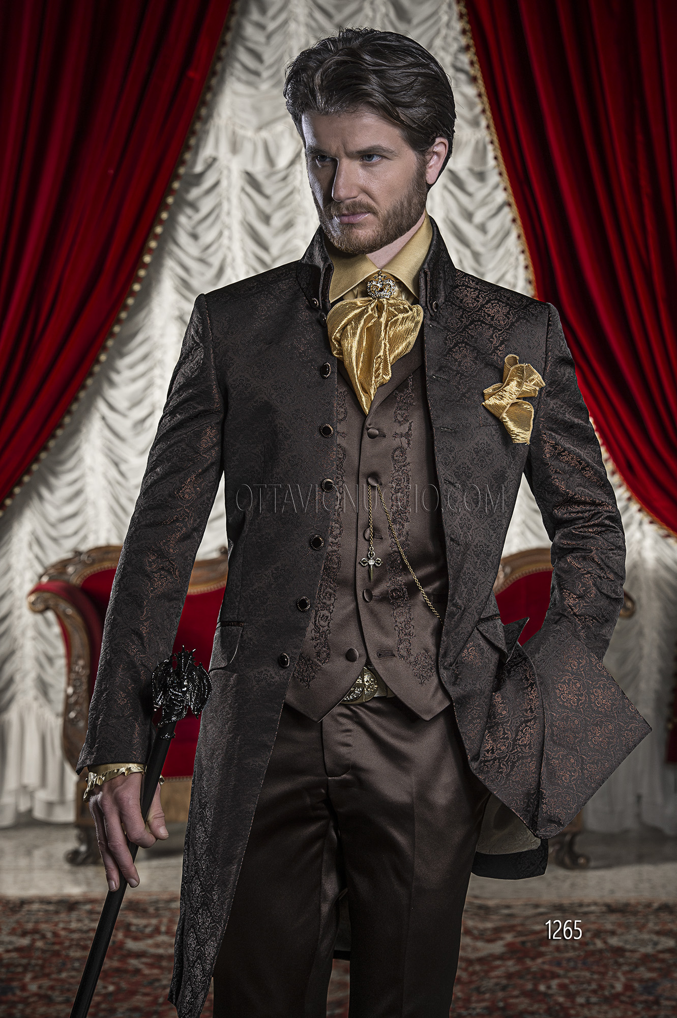 abito sposo con giacca damascata nero bronzo