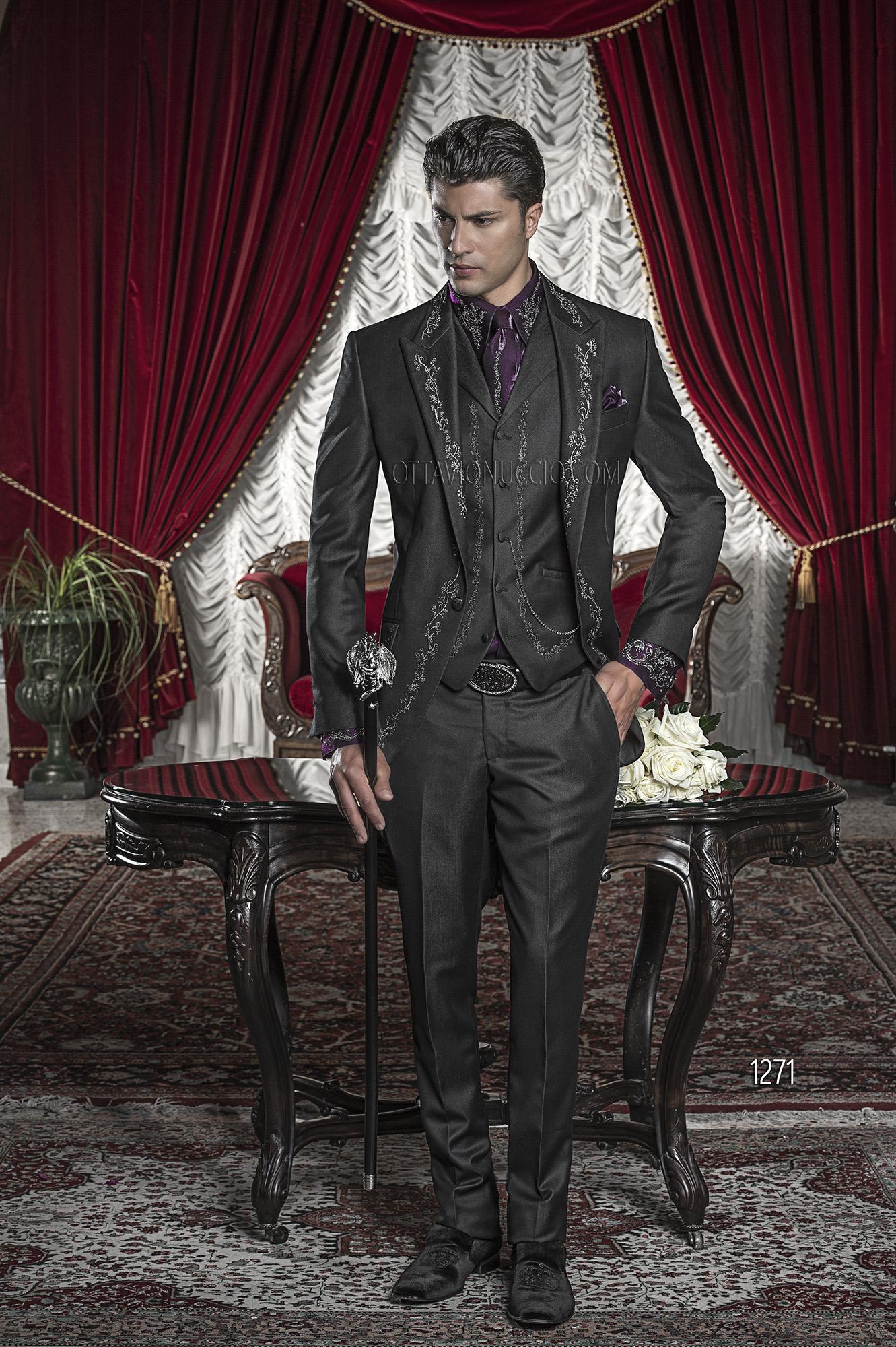 abito da sposo uomo ricamato nero e argento