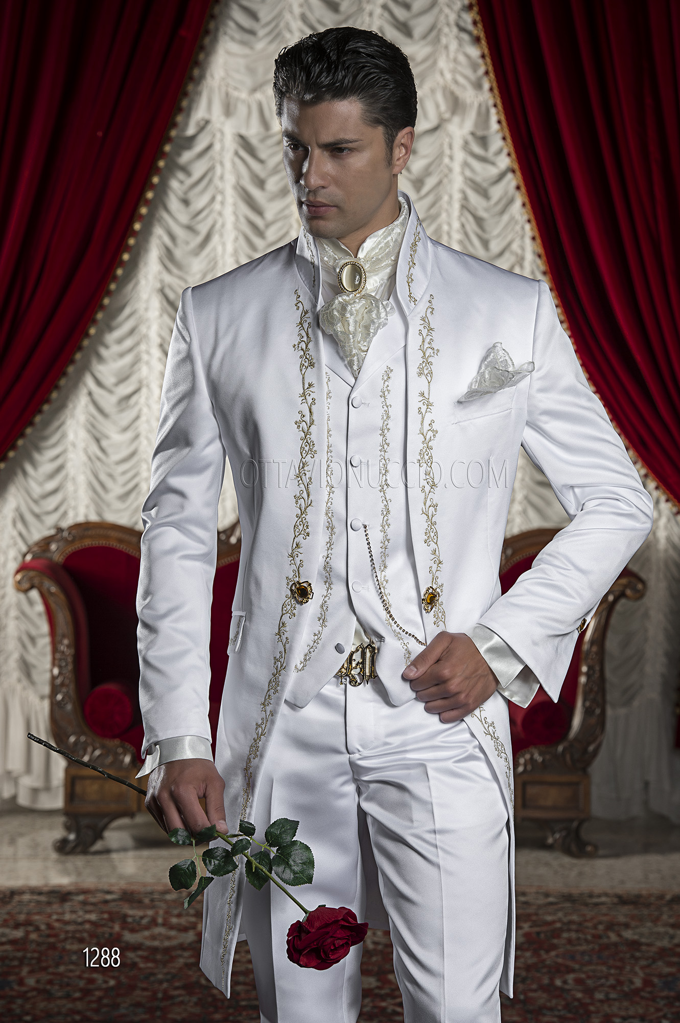 Baroque White Satin Italian Groom Suits with Tonal Embroidery