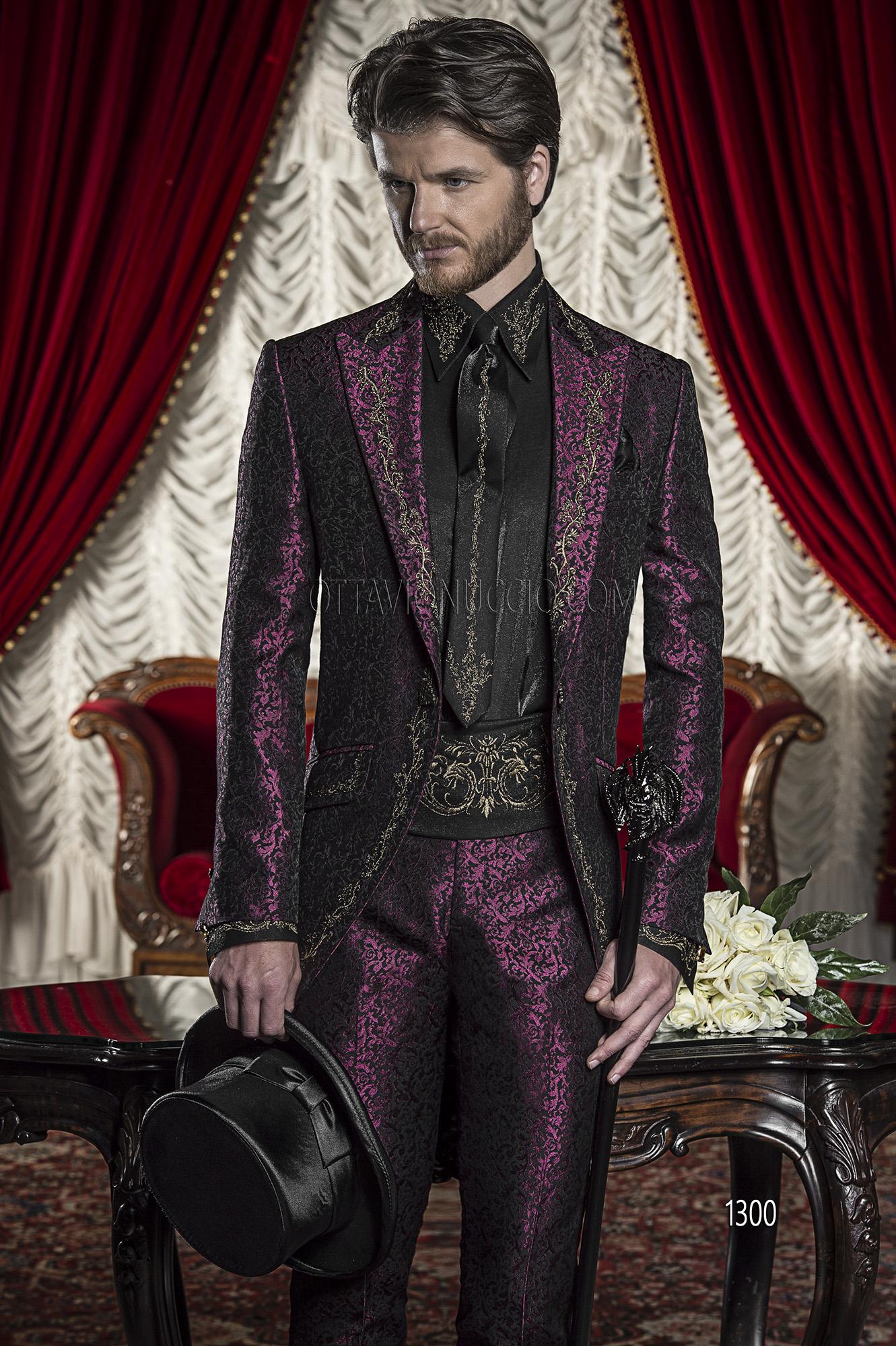 Vestito Matrimonio Uomo Viola : Abito da cerimonia uomo viola broccato ricamato nero e oro