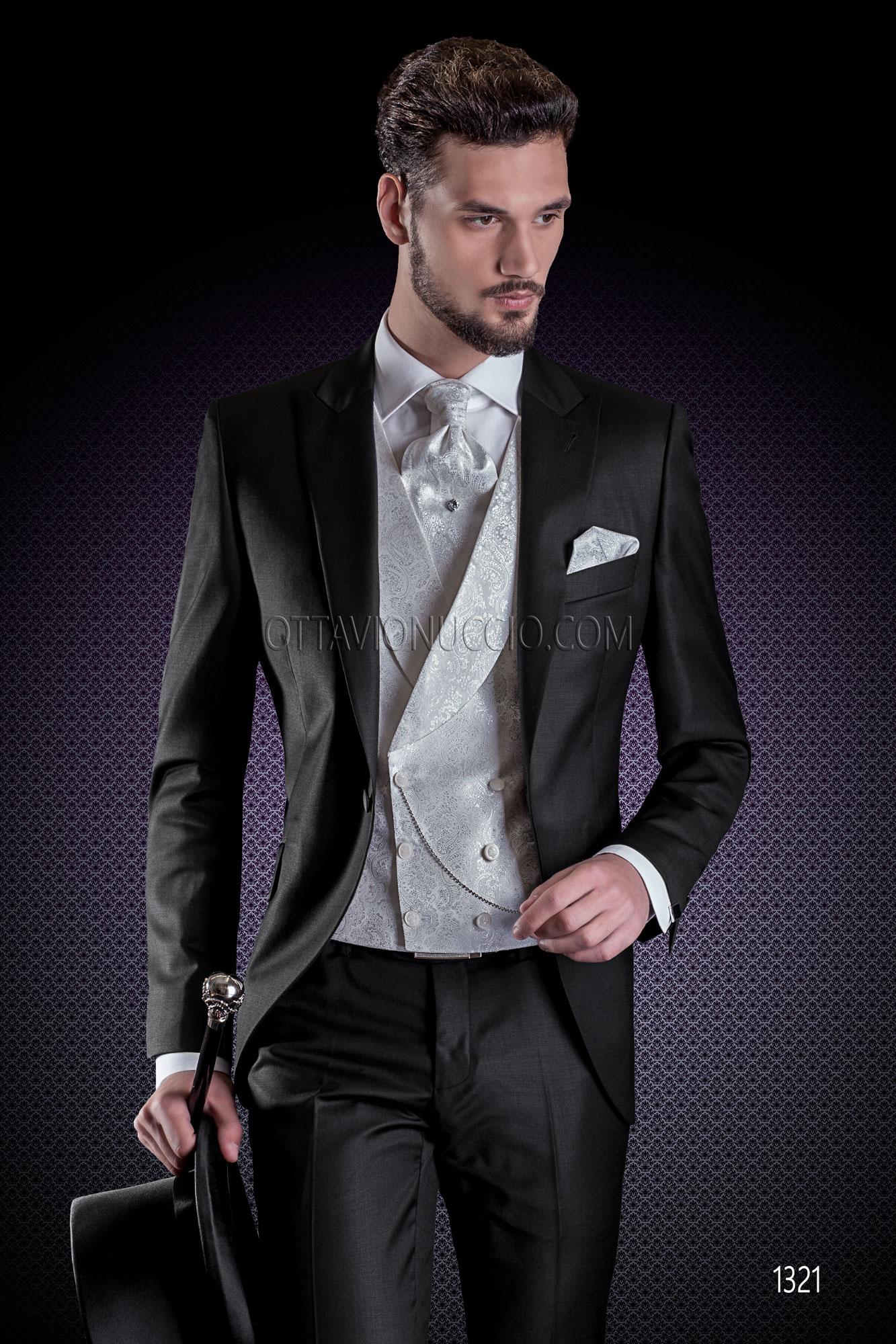 Vestito Matrimonio Uomo Damascato : Abito sposo nero in fresco lana tasmania con gilet