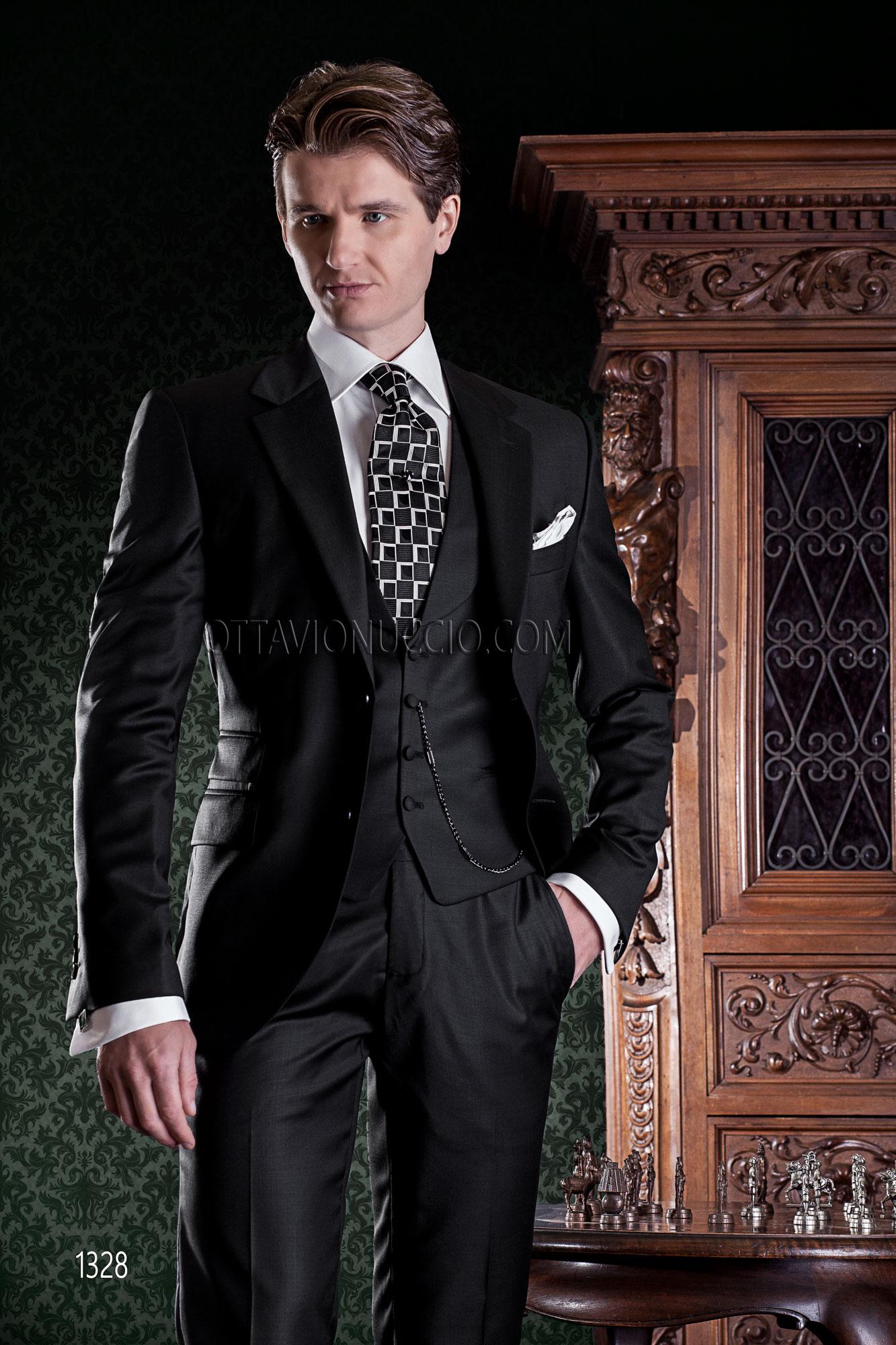 Outfit Matrimonio Uomo Gilet : Abito nero da cerimonia uomo con gilet sciallato