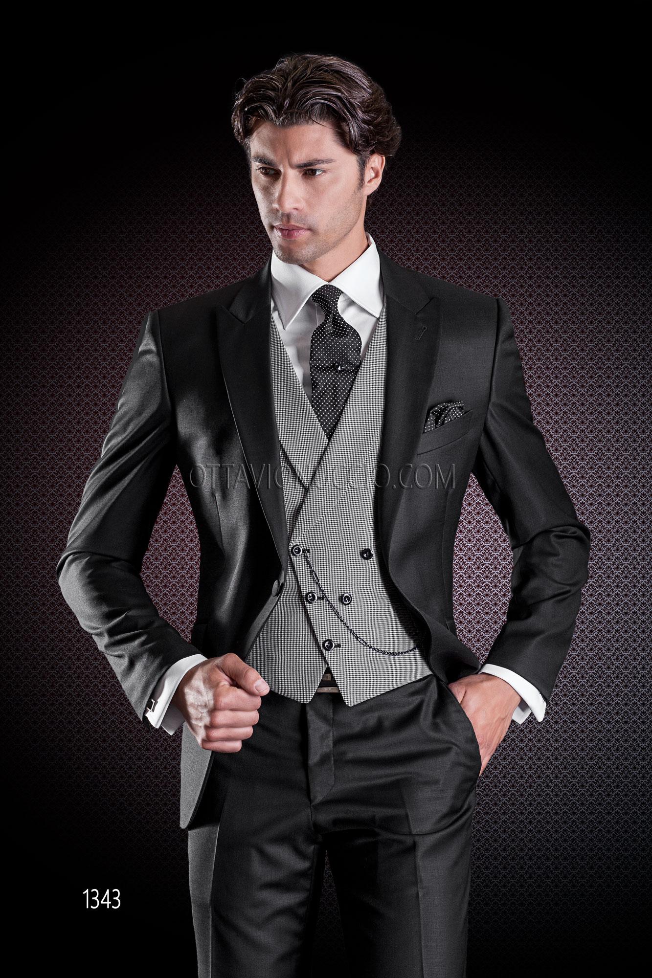Pure Laine Gilet Noir Costume Pied Poule Mariage En Avec De OXuTwPikZ