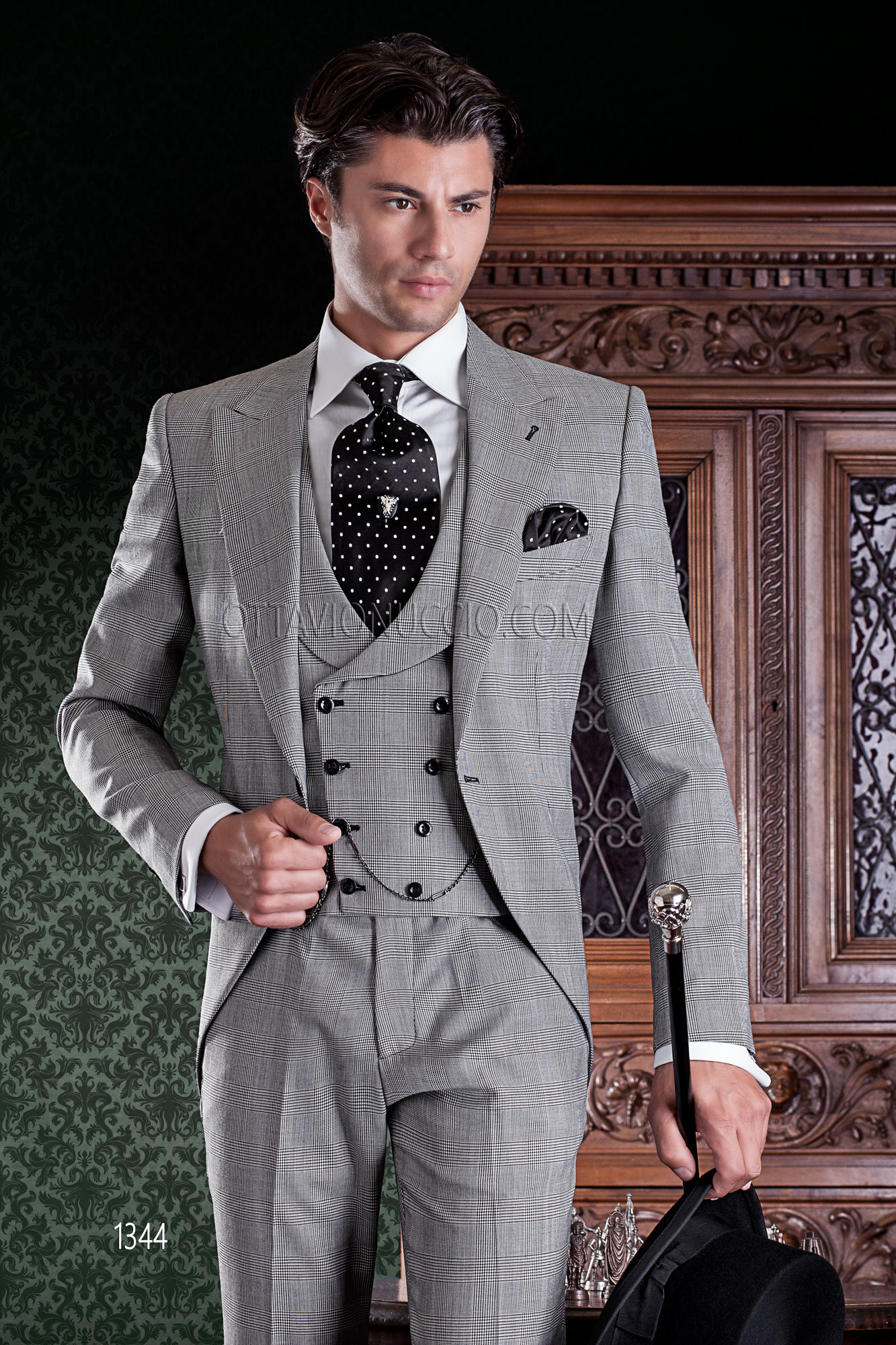 Prince of Wales peak lapel 3 piece Italian wedding suit