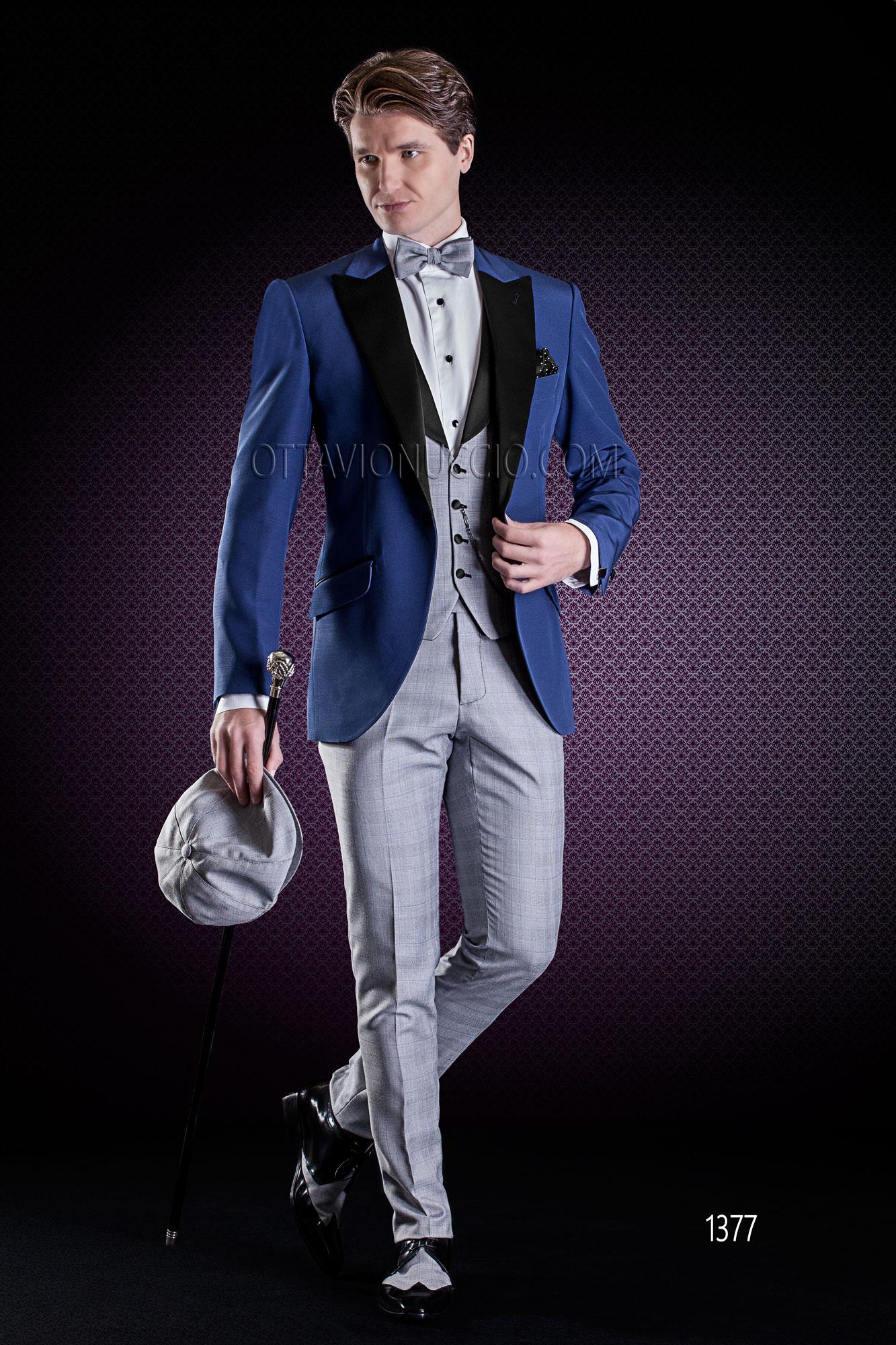 comprare on line 613fa 90321 Giacca uomo blu elettrico rever nero gilet e pantalone Principe di Galles