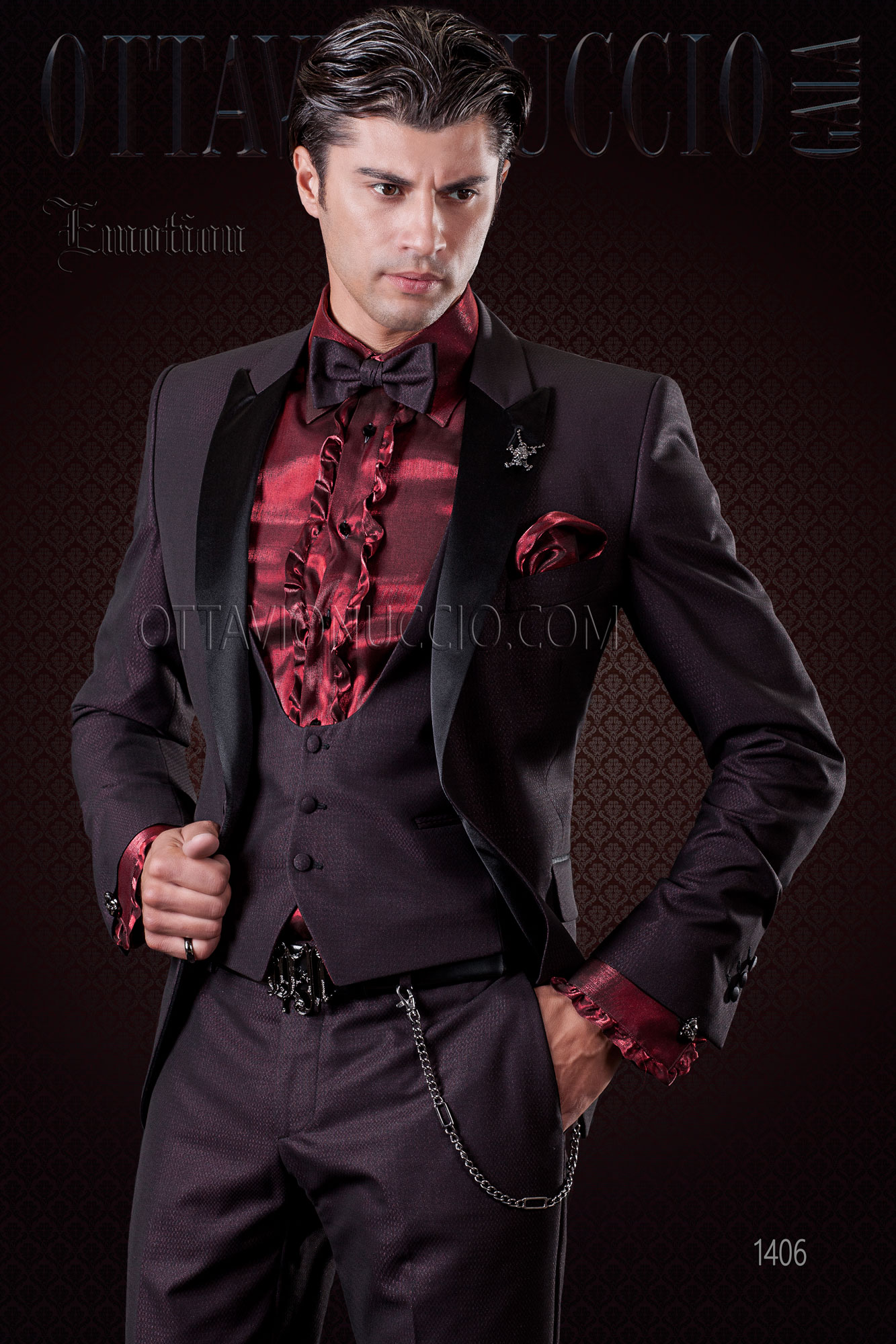 Shiny Black And Red Peak Lapel Groom Suit
