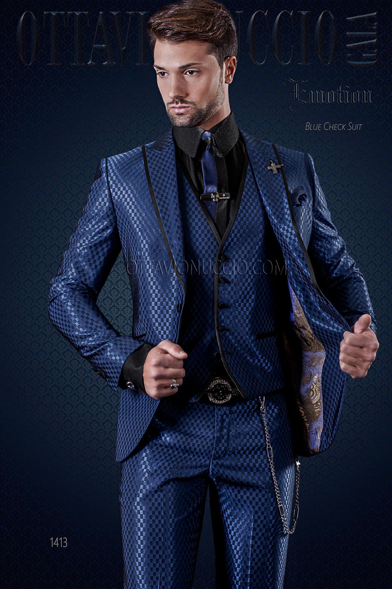 italienische mode herren anzug blaue check design mit weste. Black Bedroom Furniture Sets. Home Design Ideas