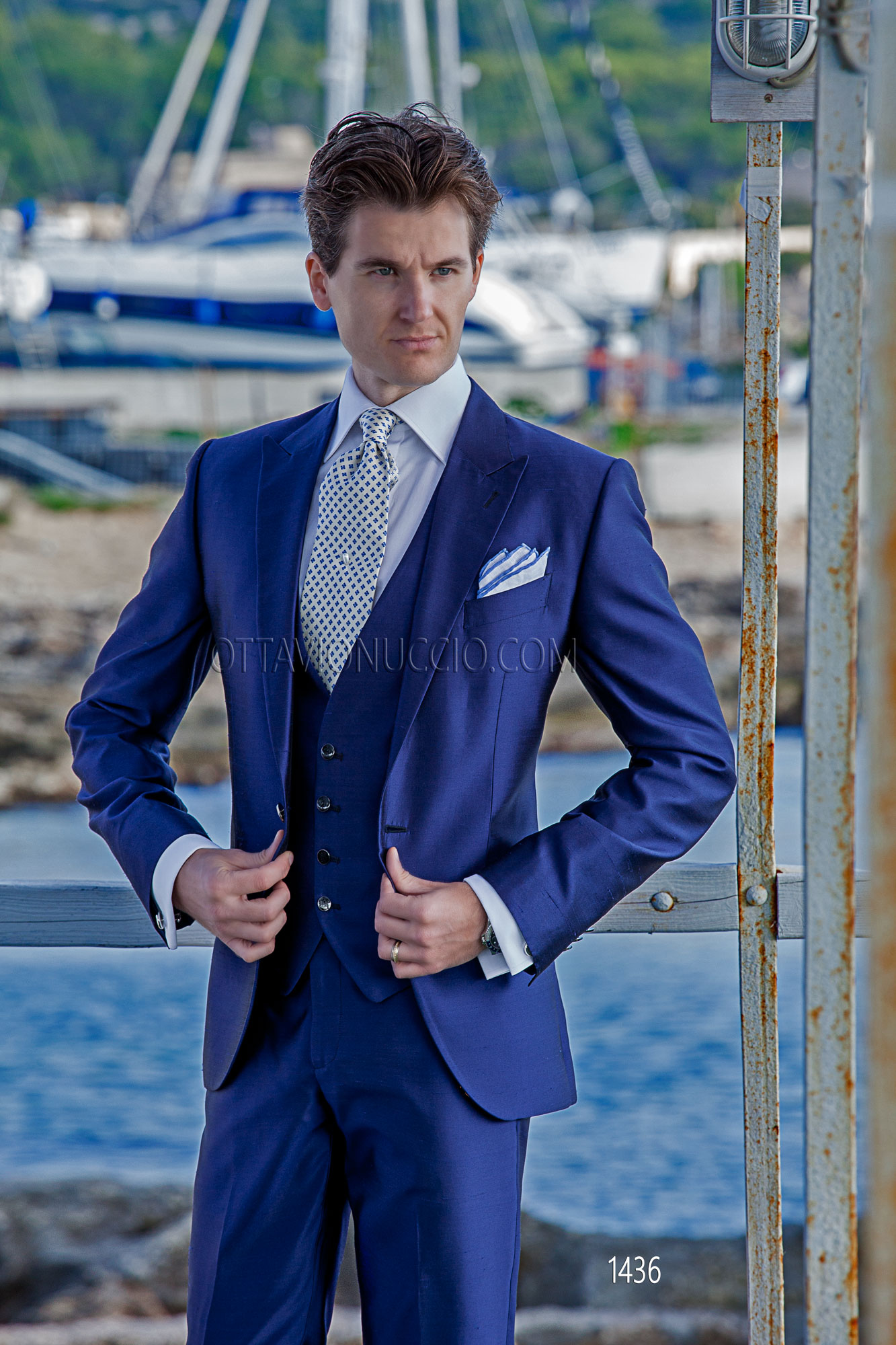 Royal Blue Hipster Suit With Matched Vest In Shantung Silk