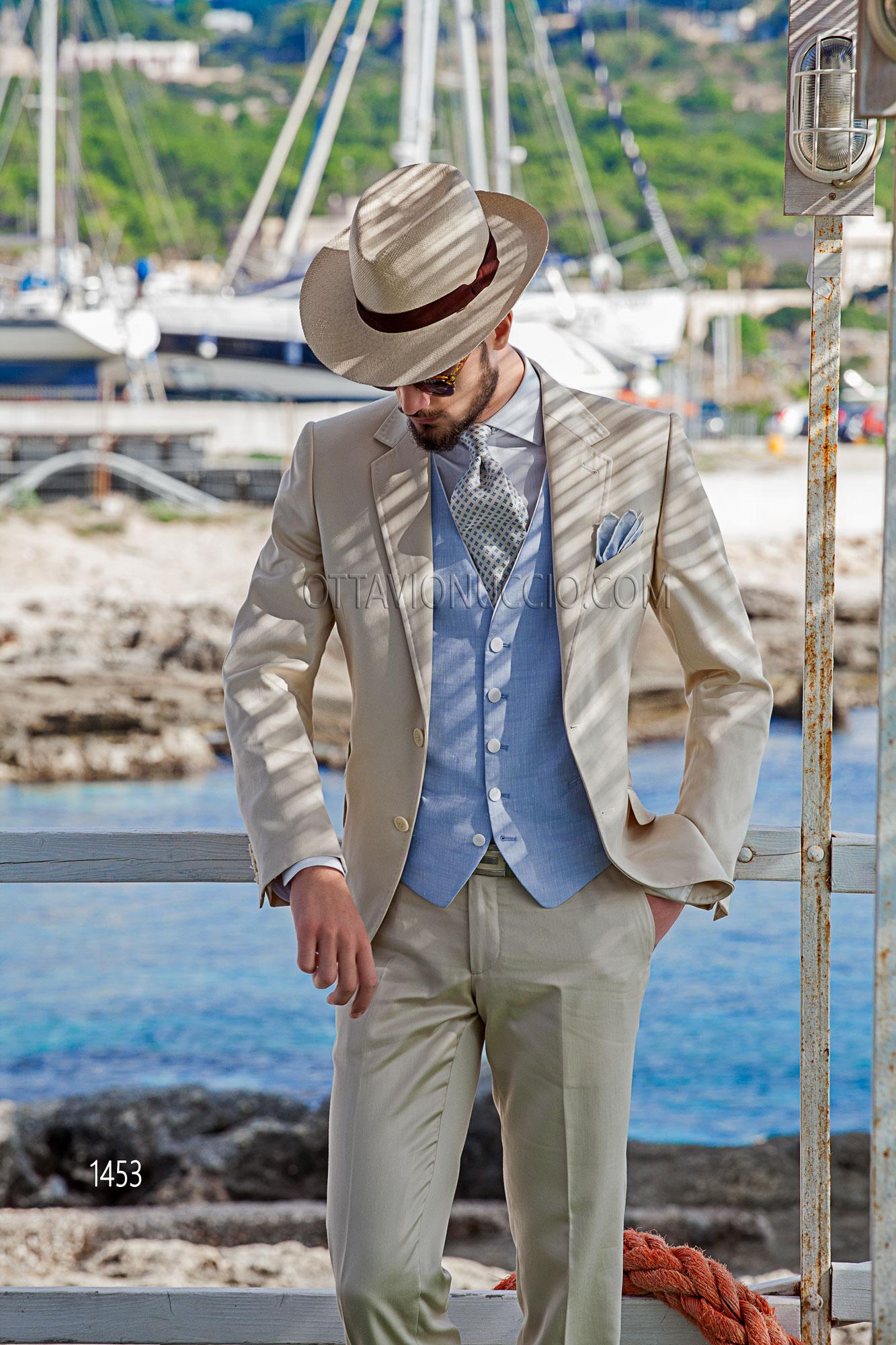 innovative design 5cd89 f212c Mode Herren Anzug beige aus satinierter Baumwolle