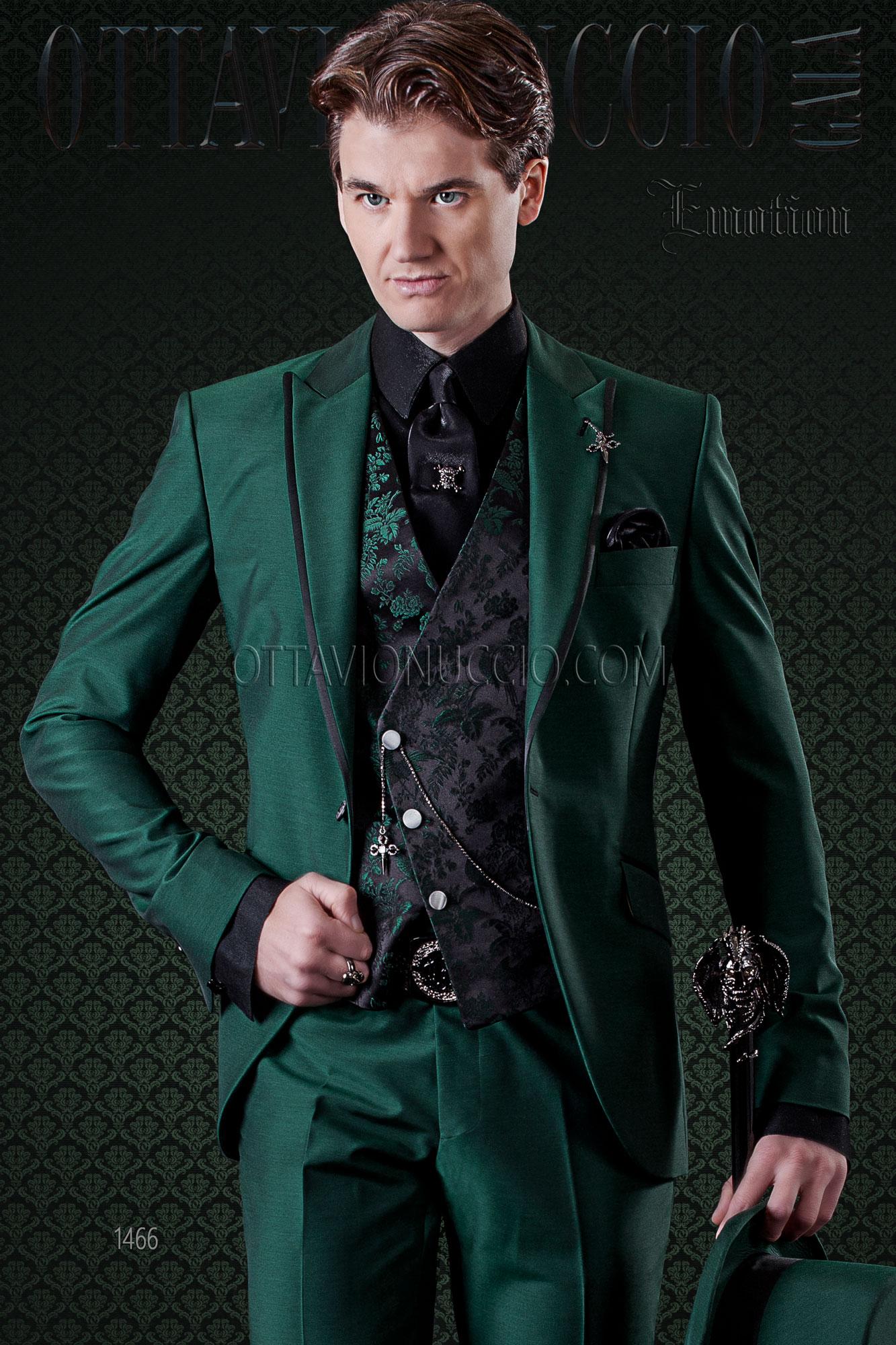 Abito Matrimonio Uomo Verde : Abito uomo moda verde profili a contrasto e gilet damascato