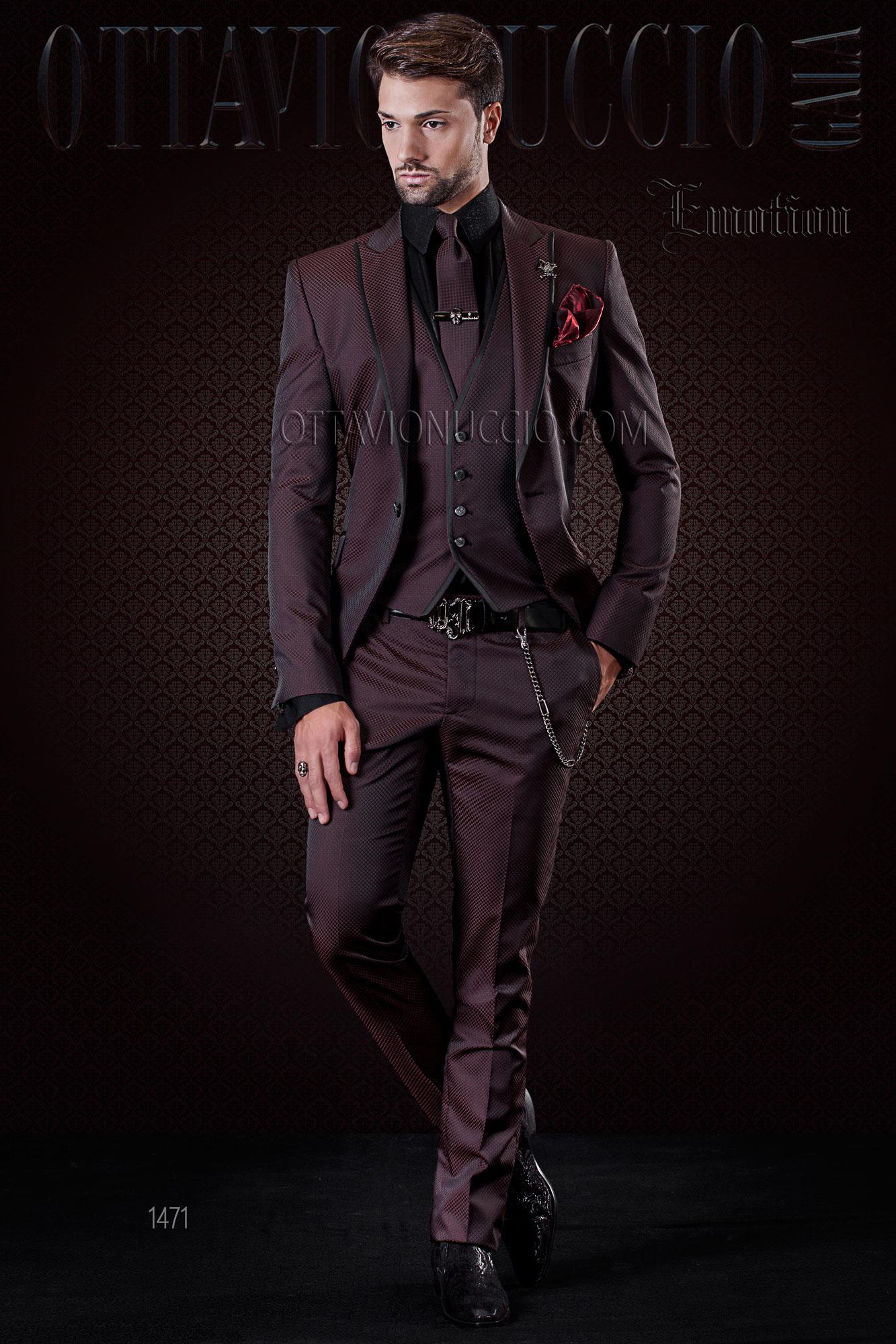 Bien-aimé Costume mariage bordeaux pour homme tendance bordures noires IO94