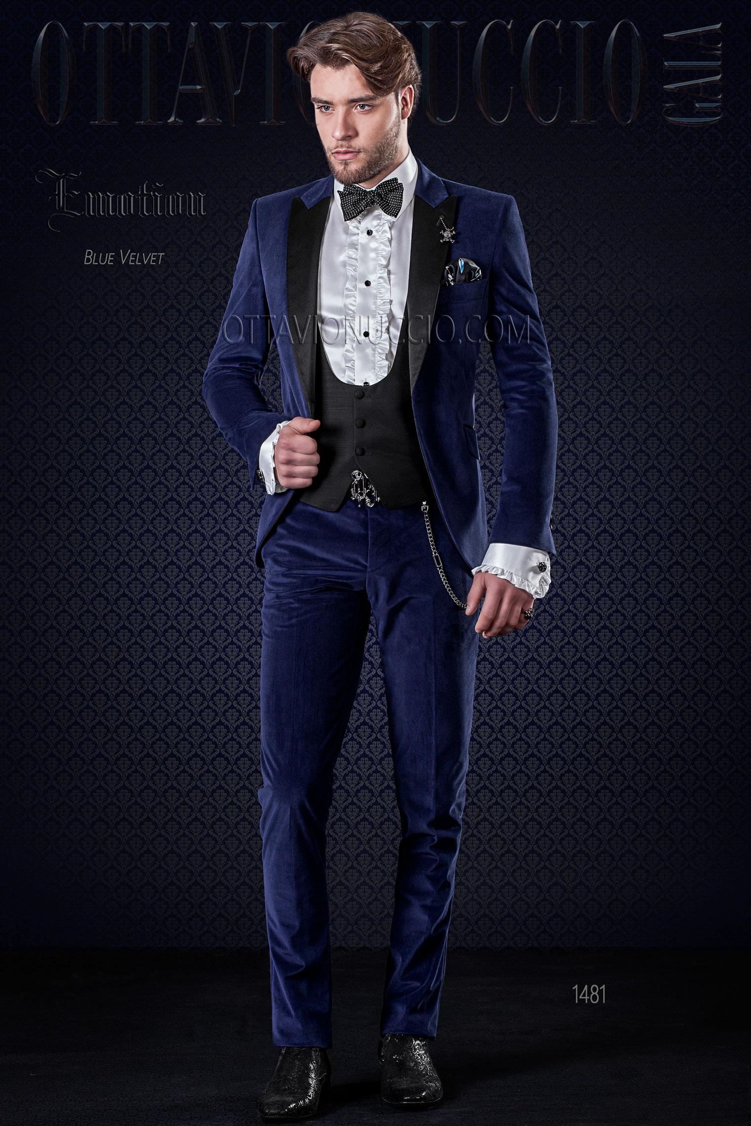 abbastanza Smoking matrimonio uomo blu elettrico in velluto, rever in raso DM36